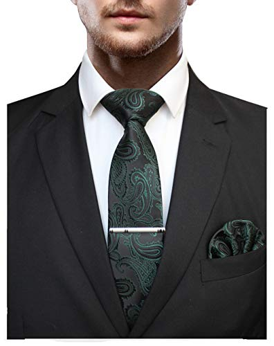 (JEMYGINS Green Paisley Silk Tie and Pocket Square, Necktie with Tie Clip Sets for Men(5))