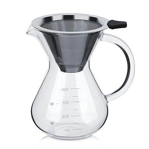 Cafetera de Filtro Manual de Acero Inoxidable con Escala de 400 ml