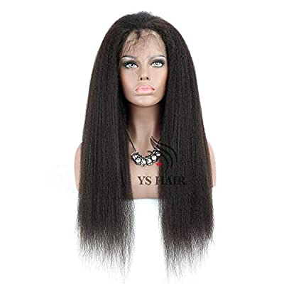 13x6 Lace Front Wig Italian Yaki Straight Deep Part Human Hair Wigs with Baby Hair Lace Front Wigs for Black Women 150% Density Natural Color 16 inch