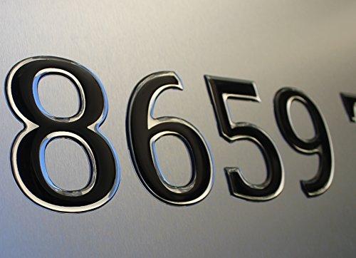 Boat & Jetski Registration Numbers - Domed/raised Decal (16 Pcs for Both Side) Black Center / Chrome Outline Pontoon Font Style
