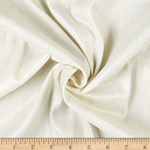 (Quality Linen Stretch Linen Blend Fabric, Ivory/Gold Metallic, Fabric By The Yard)