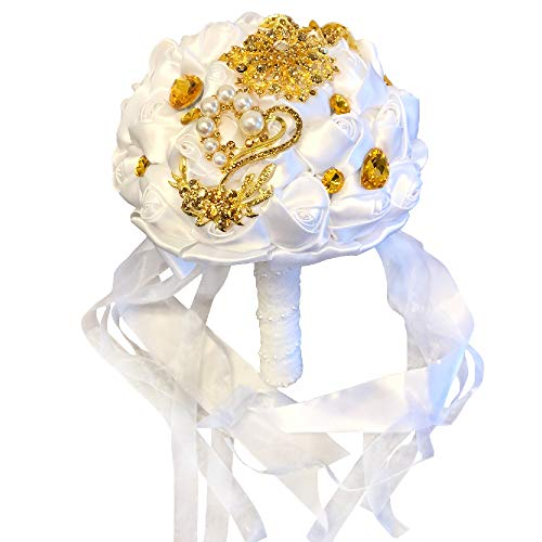 Abbie Home Advanced Customization Romantic Bride Wedding Holding Bouquet Rose with Pearls and Rhinestone Decorative Brooches Accessories-Multi Color Selection (Pure White)