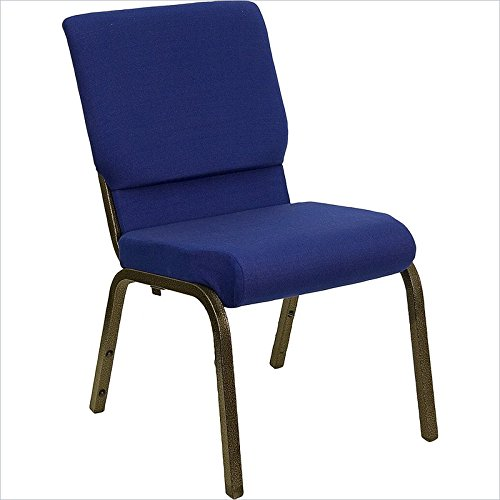- 18.5''W Navy Blue Fabric Stacking HERCULES Church Chair with 4.25'' Thick Seat - Gold Vein Frame