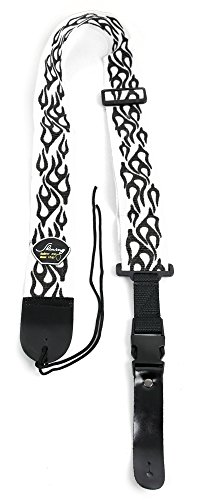 Rock Band Guitar Strap (White & Black Flame Guitar Controller Strap For Guitar Hero & Rock Band Guitars On PS3, PS2, Xbox 360 & Wii (Compatible With Guitar Hero: Warriors of Rock, 6, 5, 4, 3, 2 & 1))