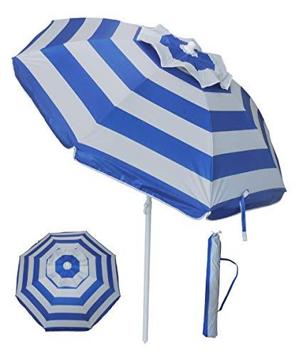 YATIO-6ft Beach Umbrella Sun Shelter with Tilt, Fiberglass Ribs, Telescopic Pole, Windproof Canopy, Carry Bag-Blue Stripe