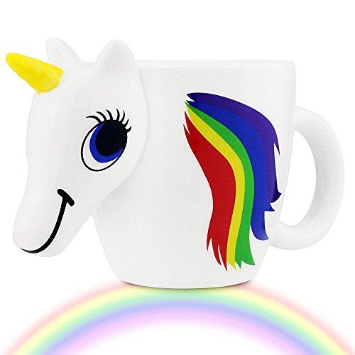 HIBOUR Color Changing Unicorn Mug Heat Sensitive Rainbow Ceramic Coffee Tea Cup by HIBOUR