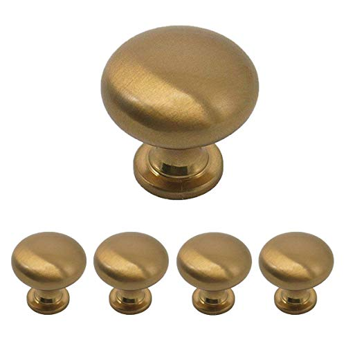 Goldentimehardware Champagne Bronze Cabinet Knobs Solid Round Knob for Drawers Dresser 1 1/5 Diameter Pull Handle 5Pack