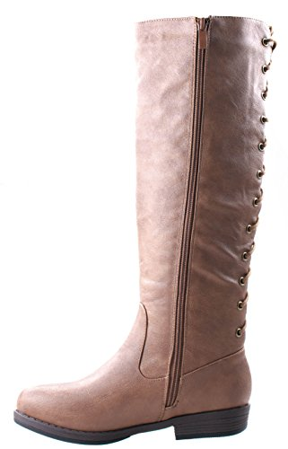 Glaze Womens Sara-1 Round Toe Wide Calf Equestrian Boots with Back Lace Up Side Zipper Camel sSYGUz