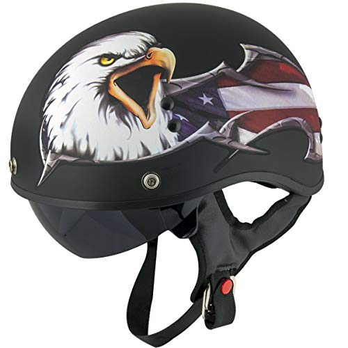 Outlaw T-70 'Black Eagle Flag' Half Face Helmet with Drop Down Tinted Visor - 2X-Large