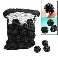 CNZ Lighting CNZ® 50 piezas de acuario negro Filtro de tanque de bio-bolas Medios de filtración, 1 pulgada