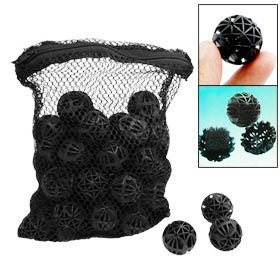 CNZÂ 50pcs Black Aquarium Fish Tank Filter Bio-balls Filtration Media, 1-inch