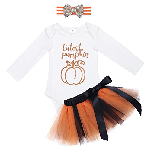 YiZYiF Baby Girl's 1st Halloween Costume Tutu Dress Newborn Princess Outfit Set Ivory 12-18 Months