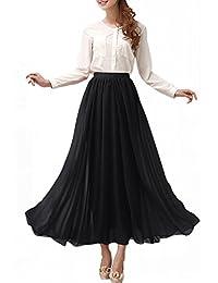 Afibi Womens Chiffon Retro Long Maxi Skirt Vintage Dress