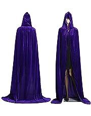 Alivier Capa de Capucha de Terciopelo Largo con Capucha de Terciopelo de Halloween Capa Disfraz de Vampiro Capucha Bruja de Boda