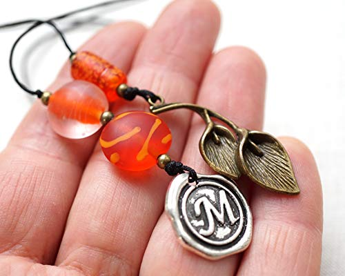 Custom Beaded Bookmark Artistic Orange Glass Beads with bronze calla lily Initial Wax Seal Letter Unique Personalized Gift for Men Women Reader Handmade and Crafted by - Lilies Bronze Calla