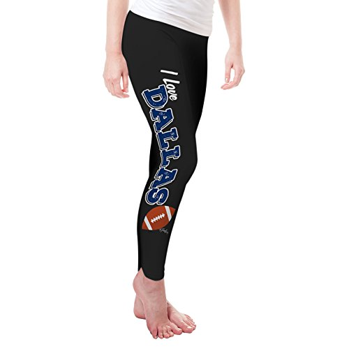 Twisted Envy Women's I Love Dallas American Football Leggings Large Black