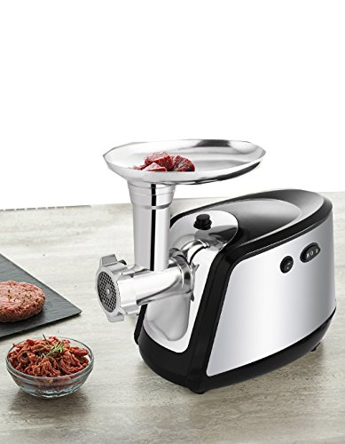 Korie Professional Electric Meat Grinder, Stainless Steel Meat Mincer with 3 Grinding Plates, Sausage Stuffer Maker Machine for Home & Commercial Use, Silver/1000W