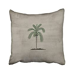 Emvency Decorative Throw Pillow Cover Square Size 20x20 Inches Vintage Palm Tree Pillowcase With Hidden Zipper Decor Cushion Gift For Holiday Sofa Bed
