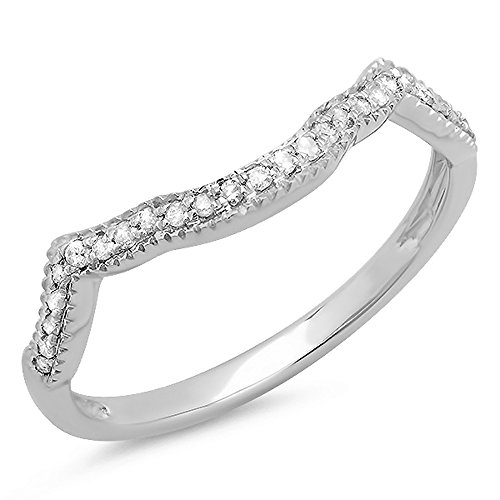 0.15 Carat (ctw) Sterling Silver Round Real Diamond Ladies Wedding Stackable Matching Band Guard Ring
