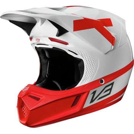 Fox Racing 2018 V3 Helmet With MIPS - Preest LE (SMALL) (WHITE/RED)