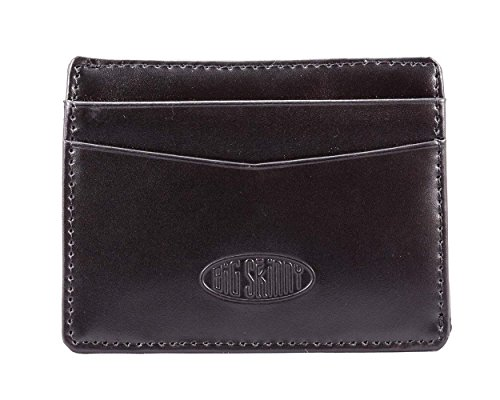 Big Skinny Open Sided Mini Skinny Leather Card Slim Wallet, Holds Up to 9 Cards, Black (Leather Open Sided Mini Skinny Card Case)