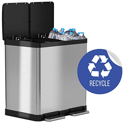 iTouchless 16 Gallon Dual Step Trash Can & Recycle Bin Stainless Steel 2 x 8 Gallon (30L) Removable Buckets with Handles, Soft-Close and Airtight - Recycle Decal Included, Silver 16 - Trash Recycling Cans
