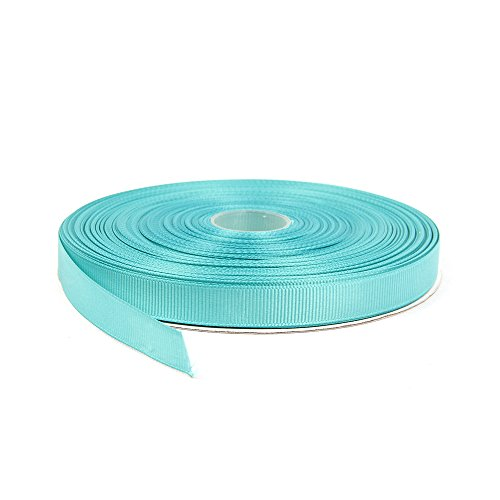 Topenca Supplies 1/2 Inches x 50 Yards Double Face Solid Grosgrain Ribbon Roll, Aqua Blue