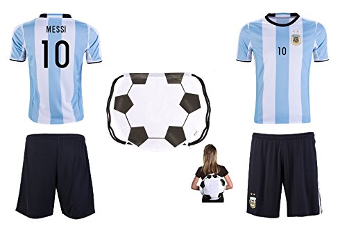 Argentina Home Messi Kids #10 Soccer Kit Jersey and Shorts All Youth Sizes (Kids Small 5-8 years of age)