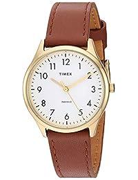 Timex TW2T723009J - Reloj analógico para mujer (32 mm, correa de piel de cuarzo, color café, 16 relojes informales)