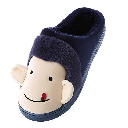 slippers Cartoon plush shoes Unisex home warm Navy winter blue monkey cotton boots BBx1wqpH
