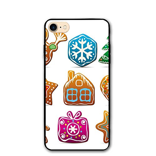 Haixia iPhone 7/8 Cover Case 4.7 Inch Gingerbread Man Set of Nine Gingerbread Cookies Cartoon Style Delicious Looking Pastries -