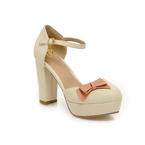 AgooLar Women's Buckle High-Heels PU Assorted Color Round Closed Toe Sandals Beige TLiqAl3W