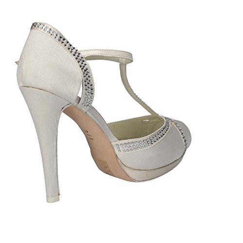 scarpe donna LUCIANO BARACHINI sandali bianco raso AH92