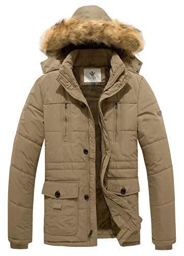WenVen Men's Hooded Warm Coat Winter Parka Jacket (Khaki, Medium) (Hooded Parka Coat)