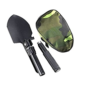 Ezyoutdoor Military Portable Folding Camping Shovel Survival Spade Trowel Dibble Pick Emergency Garden Outdoor Tool