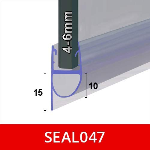 Shower or Bath Screen Door Seal | Fits 4, 5 or 6mm Glass | Round Bubble with Soft Straight Fin, Seals Gaps of Up to 15mm…