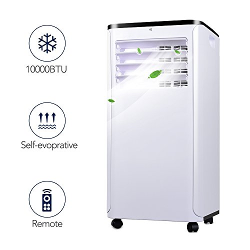 Portable Air Conditioner - Quiet Cold Air Conditioner w/ Remote Control, 10000BTU Portable AC Unit, versatile design & Multipurpose, Class A Energy Saving Air Conditioner Portable, 1 Year (Evaporation Cooling System)