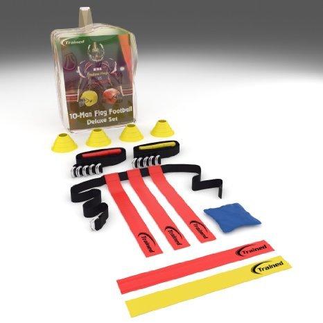 Trained Flag Football Set,10 man Set ,Premium Football Gear , Massive 46 piece Set, Flags, Belts, Cones, & More, Bonus: Stylish Carry Bag & Flag Football Playbook (Ebook)