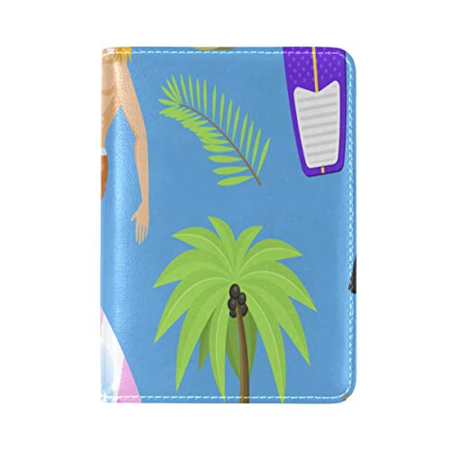 Passport Cover Case Car Beach Ocean Palm Tree Nostalgic Classic Art Vintage Design England Leather&microfiber Multi Purpose Print Passport Holder Travel Wallet For Women And Men 5.51x3.94 In