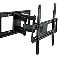 WALI Full Motion Articulating TV Wall Mount Bracket Dual Arms for Most 26-55 LED, LCD, OLED, Plasma Flat Screen TVs with VESA up to 400x400mm-Includes 6 HDMI Cable & Bubble Level, Black (FTM-2)