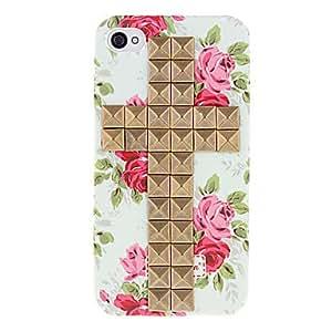 Square bronce remaches Cruz Cubierta y Rose Caso duro del patrón con el pegamento para el iPhone 4/4S