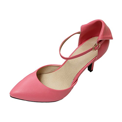 Women's Spring Pointed Toe Ankle Strap D'orsay Stiletto High Heels Pumps Work Shoes KTC18 Peach Red Fq9ZBHkD