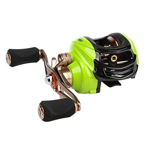 NOEBY Baitcasting Reel 8.8LB Carbon Fiber Drag 6.3:1 Baitcasters Saltwater or Freshwater Unequaled Affordable High-tech Innovation Baitcast Reels (Green-Right Handed) (Best Affordable Baitcasting Reel)