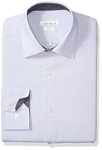 Perry Ellis Men's Slim Fit Wrinkle Free Dress Shirt, Berry Dobby Stripe, 17.5 34/35 ()