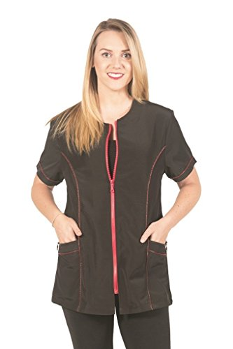 Ladybird Line Fashionable Red Zipper Grooming Jacket Ideal for Pet Groomers and Hair Stylist - Black, Medium