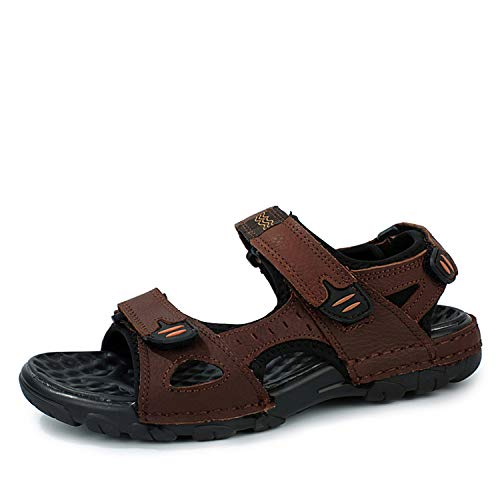 Brand Genuine Leather Men Sandals Summer Casual Men Flat Breathable Leather Sandals,Brown,9.5