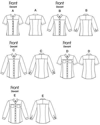 Talla AA: 36-42 Patrones de Costura para Camisas de Mujer Vogue Patterns V8689