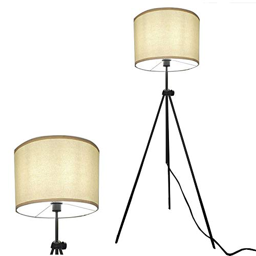 - Decoluce Cloth Shade Tripod Floor Lamp - Mid Century Modern Living Room Standing Light - Height Adjustable Contemporary Uplight and Downlight for Bedroom or Office - White (White)
