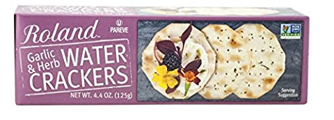 Roland Water Crackers, Garlic and Herbs, 4.4 Ounce (Pack of 12) (Roland Garlic)