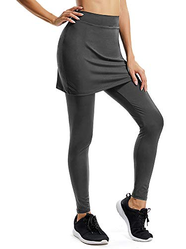 (Jessie Kidden Women's Anytime Casual Athletic Stretch Skort Skirt with Leggings and Pocket for Running Tennis Golf Workout #9178,Grey,)